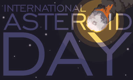 Dangerous meteor view in a starry sky view promoting awareness from this space objects during International Asteroid Day. Ilustração Vetorial