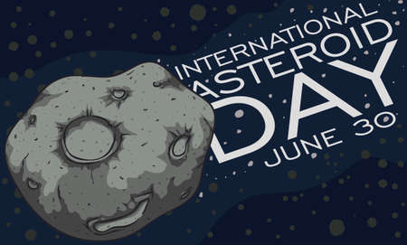 Space view of the nearest asteroid belt to Earth and a close up view of one of it with giant craters and a greeting during International Asteroid Day celebration in June 30.