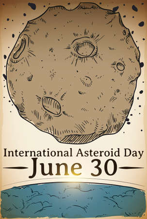 Hand draw design of an asteroid passing close to the Earth's atmosphere to promote awareness in the International Asteroid Day in June 30. 向量圖像