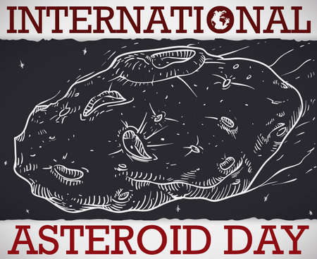 Planetoid in hand drawn style over ragged dark paper, crossing the space and atmosphere like meteor during International Asteroid Day celebration.