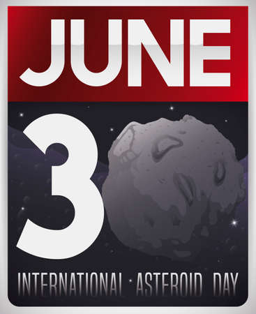 Loose-leaf calendar with night, starry sky view and giant asteroid with craters completing the number thirty to celebrate International Asteroid Day in June 30.