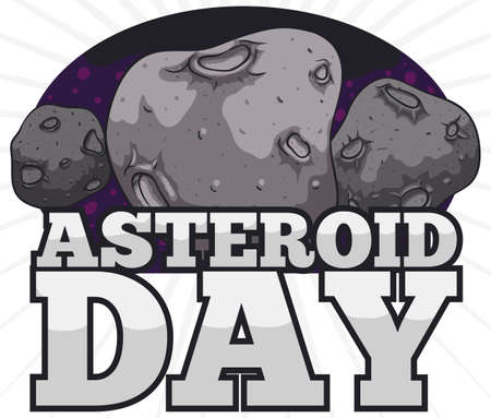 Three rocky asteroids with craters over asteroid belt behind them and silver sign to promote the Asteroid Day event. 向量圖像