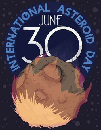 Commemorative design for International Asteroid Day in June 30 with meteor falling at high speed to the Earth, a terrible event that invite to promote efforts to prevent it during this date. 向量圖像