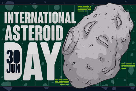 Asteroid over grid ready for examination, understanding and prevent collision in the Earth and to celebrate International Asteroid Day in June 30.