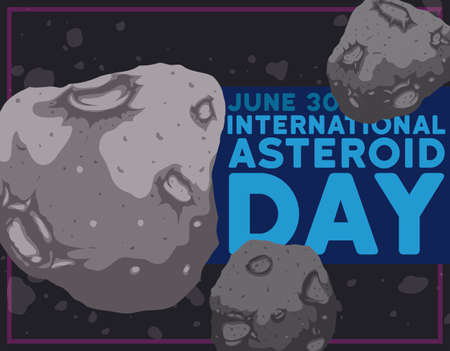 View of an asteroid belt with some close up planetoids with craters floating in the space during International Day celebration this 30th June.