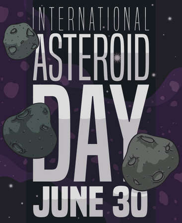 Asteroid belt view with some planetoids with craters, wandering in the outer space in the celebration of International Asteroid Day in June 30.