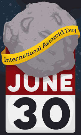 Asteroid with a yellow ribbon around it and over a calendar with reminder date for International Asteroid Day celebration this June 30.