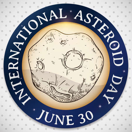 Asteroid in hand drawn style inside round button over spotted background to celebrate International Asteroid Day in June 30.