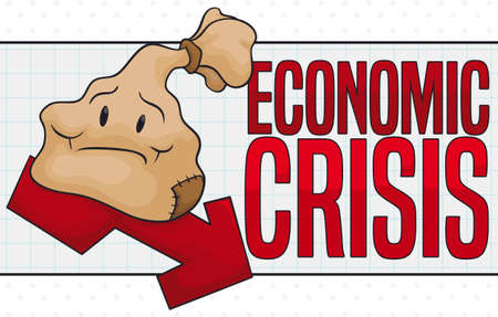 Money bag worried with patch in poverty state, standing in a falling arrow depicting the economic crisis.