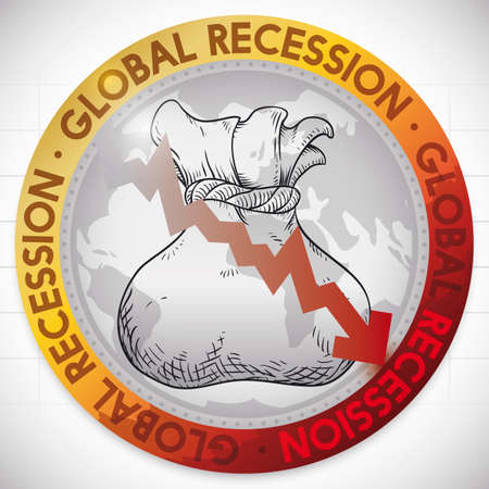 Illustrative round button with globe, money bag draw and red arrow falling, that represents the economic global recession. Ilustrace