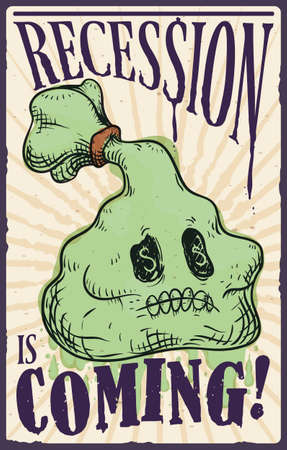 Retro poster with money bag like a skull with money symbols in its eyes, announcing the upcoming terrifying recession, financial and economic crisis.