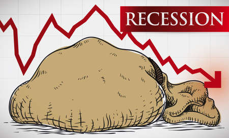 Banner with statistic chart with falling arrow design and empty money bag draw depicting the economic recession tendency.