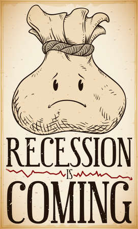 Vintage design with worried money bag in hand drawn style forecasting the upcoming economic recession with a red decreasing line. Ilustrace