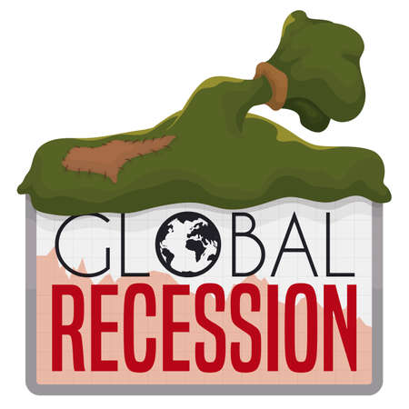 Empty money bag with patch over sign with squared pattern, decreasing graph and globe, announcing global economic recession.