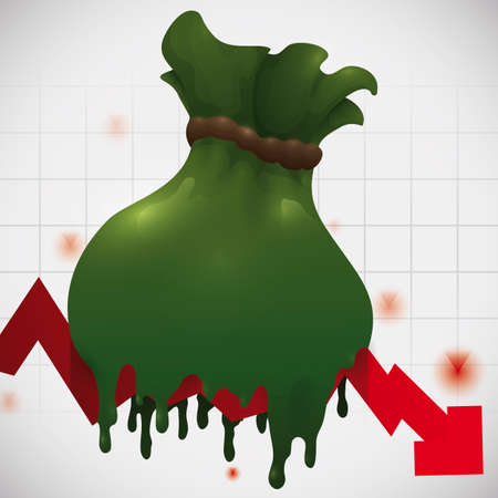 Money bag melting in falling red arrow over squared background, representing the economic recession. Ilustrace
