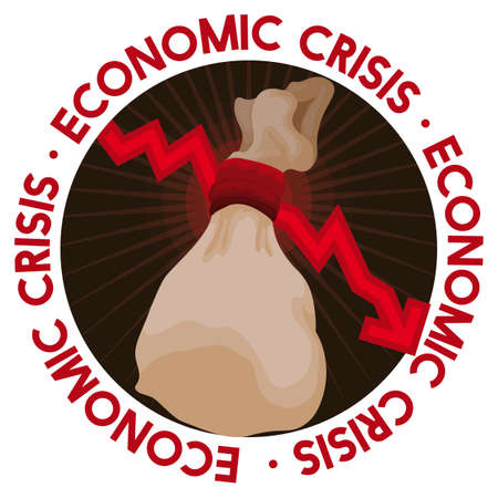 Round button with falling red arrow suffocating a money bag, depicting the critical economic crisis effects. Illustration