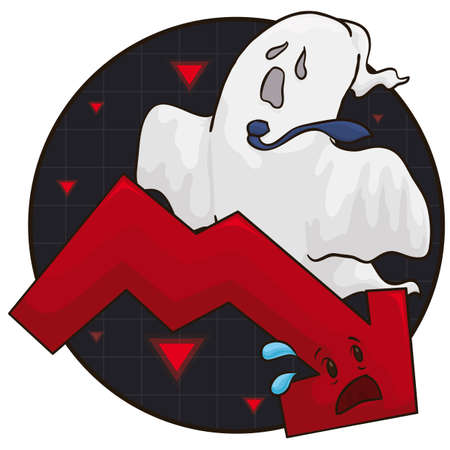Round button with ghost wearing necktie scaring a red arrow, symbolizing the recession menace and the economic fear.