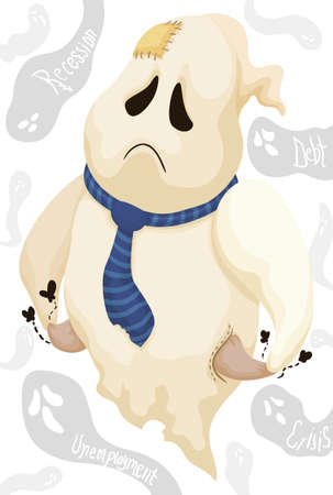 Sad ghost with its empty pockets and patches pestered with other phantoms menacing with crisis, unemployment, debt and recession.
