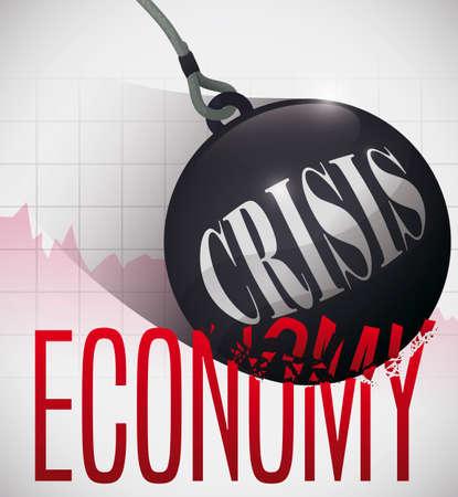Swinging wrecking ball over statistics chart, demolishing economy sign symbolizing the upcoming financial crisis.