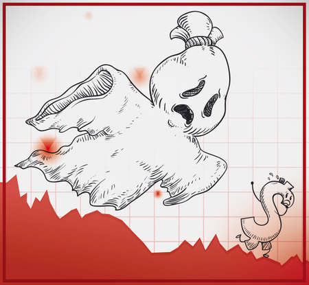 Wailing ghost and a scared money symbol in hand drawn style over a decreasing statistics chart, haunting the economy indicators with recession and crisis menace. Illustration