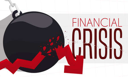 Giant wrecking ball, breaking a red arrow indicator symbolizing the crash in the economy and the financial crisis.