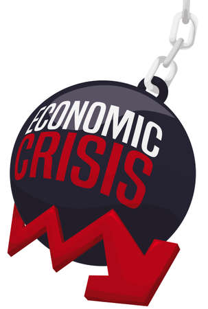 Big wrecking ball pushing red arrow down, symbolizing the difficult economic scenario due to the upcoming economic crisis.