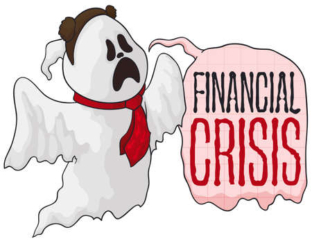 Wandering ghost wearing a necktie like a businessman and bear ears and speech bubble announcing the financial crisis and the decreasing of economy.