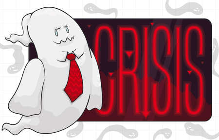 Mischievous ghost like an evil business man with a sign with crisis indicators, ready to haunt the global economy.