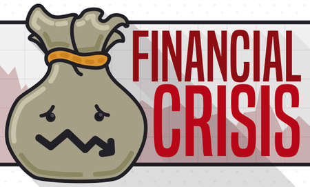 Flat design with long shadow and sad money bag with down arrow like worried mouth expression due Financial Crisis over a squared graph and decreasing area chart.
