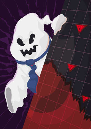 Evil ghost like a businessman with necktie appearing behind a squared sign with decreasing statistic graph and scared economic indicators.