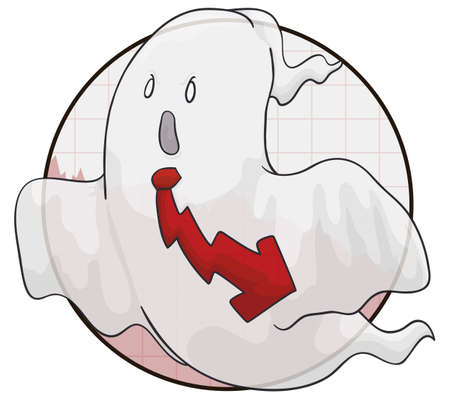 Businessman ghost wearing a necktie with down arrow design, haunting the economy with recession and financial crisis. Illustration