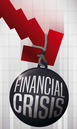 Wrecking ball in a red economic arrow, pulling it down, symbolizing the upcoming financial crisis.
