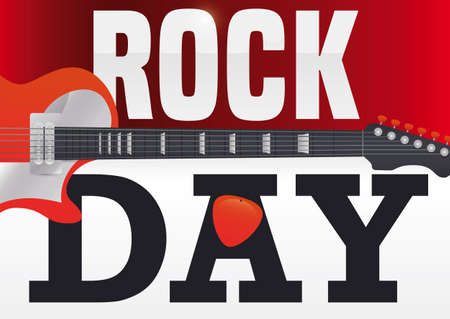 Calendar with traverse electric guitar and plectrum in the letter 'A', announcing Rock Day celebration.