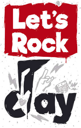 Commemorative design with doodles inviting You to let's rock, during Rock 'N' Roll Day: music note, electric guitar, heart, plectrum, sign of horns, lightnings and loudspeaker. Ilustração