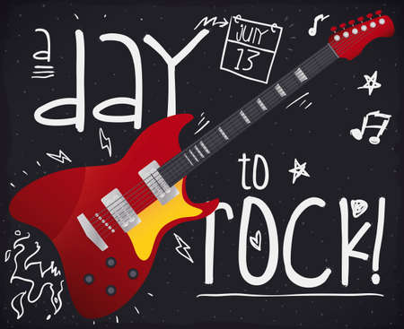Blackboard with doodle chalk drawings of lightnings, music notes, stars, fire and calendar, reminding at You to enjoy Rock 'n' Roll Day in July 13.