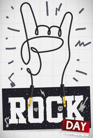 Squared board with markers doodles, sign of the horns shaped in electric guitar wire with plugs, commemorative sign in blackboard and ragged loose-leaf calendar to celebrate Rock Day. Ilustração