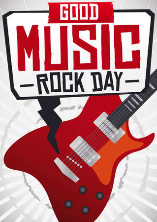 Guitar playing rock music and speech balloon inviting at you to experience the best of this music genre, during Rock Day. Ilustração