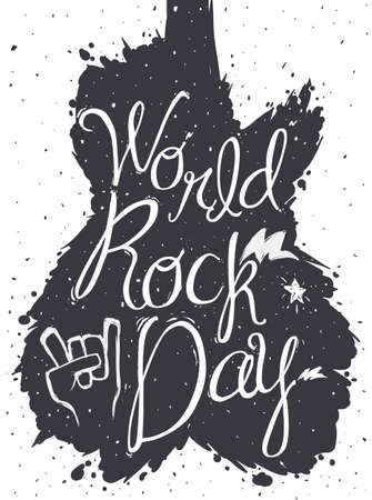 Monochromatic design to celebrate World Rock Day with paint splashed like guitar shape, lightnings, star and sign of the horns inside of it. Ilustração