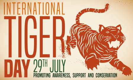 Awareness design with tiger silhouette fading away, representing the possible extinction of this big cat and reminding at you to promote and support conservation events during International Tiger Day.