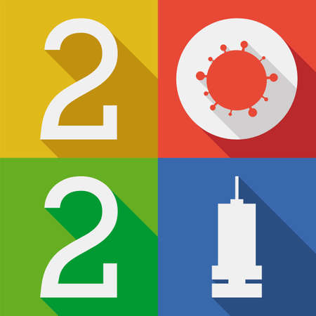 Flat and colorful design with COVID-19 representation and syringe, symbolizing the year 2021 as the year of vaccination against this coronavirus.