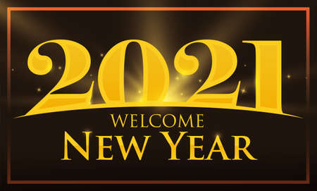 Frame with view of golden 2021 and greeting sign, welcoming the New Year. Vektoros illusztráció