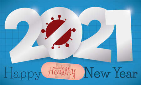 Commemorative banner with medical plaster and number 2021 banning COVID-19 representation, wishing at you a healthy and happy New Year.