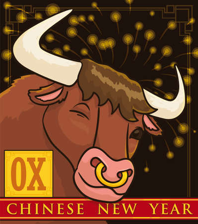 Festive night view with fireworks display and cute ox winking at you, ready for Chinese New Year celebration.