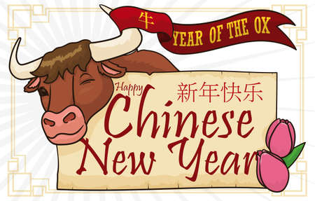 Happy ox winking at you with a ribbon entwined on its horn, greeting scroll and tulip blossoms ready to celebrate its Chinese New Year (written in Chinese calligraphy). Ilustração