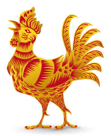 Singing rooster of Chinese Zodiac announcing new year, decorated with big feathers, comb and decorated with lines, flowers and petals in golden and red colors, isolated over white background.