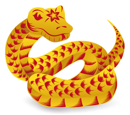 Expectant snake of Chinese Zodiac with its tongue out, scales and decorative flower, in golden and red color, isolated over white background. 矢量图像