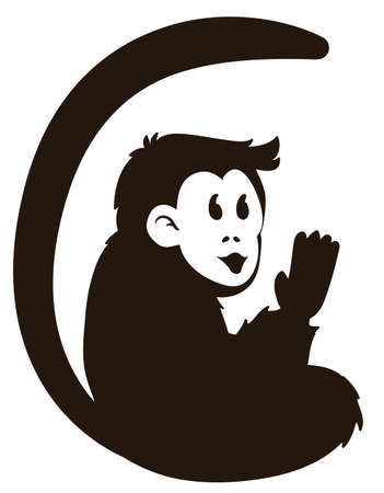 Isolated design with cute monkey with long tail silhouette, saluting at you, over white background.