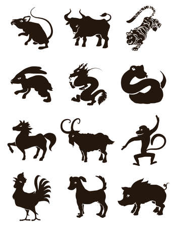 Black silhouettes representing the twelve animals of Chinese Zodiac: ox, tiger, rabbit, dragon, snake, horse, goat, monkey, rooster, dog and pig.