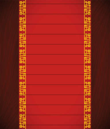 Vertical template with red label and Chinese pattern over wooden texture in the background. 矢量图像