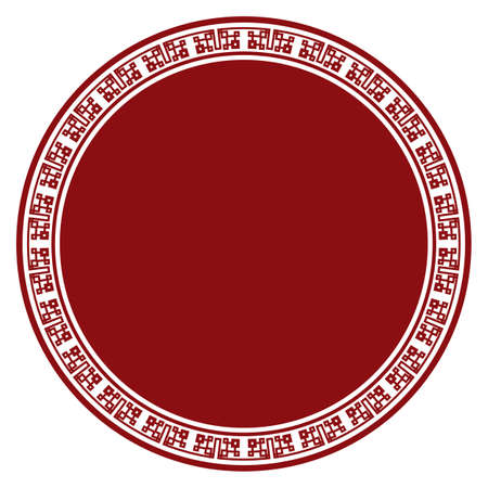 Round button decorated with Chinese frame, in red and white colors. Isolated template over white background.